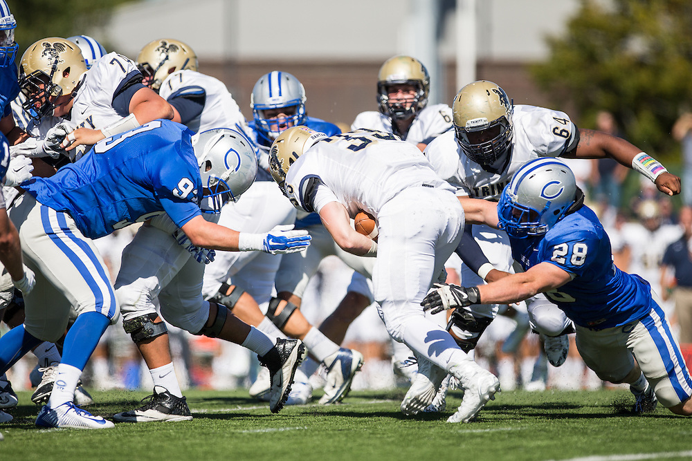 Henry Wallwrap and Harry Nicholas, of Colby College, during a NCAA Division III football game on September 26, 2015 against Trinity College in Waterville, ME. (Dustin Satloff/Colby College Athletics)
