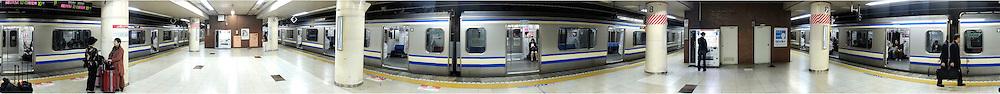 Train station panorama in Tokyo Japan Friday, Nov. 24, 2011.