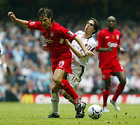 Photo: Chris Ratcliffe.<br />Liverpool v West Ham United. The FA Cup Final. 13/05/2006.<br />Yossi Benayoun of West Ham tussles with Fernando Morientes of Liverpool.