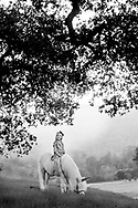 A dreamy Black & White portrait of a princess and her unicorn. Vacaville Portrait Photographer Kristina Cilia