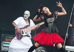 © Licensed to London News Pictures. 29/08/2015. Reading Festival, UK.  Babymetal performing at Reading Festival 2015, Day 2.  In this picture - Yuimetal.  Photo credit: Richard Isaac/LNP