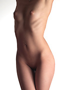 Side lit nude woman's torso against a white background