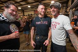 Moonshiner Josh Owens and Rhett Rotten at Bill Dodge's Blings Cycle shop during Biketoberfest. Daytona Beach, FL, USA. Friday October 20, 2017. Photography ©2017 Michael Lichter.