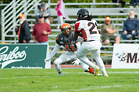 KELOWNA, BC - OCTOBER 6:  Defensive back Nate Adams #41 of the Okanagan Sun lines up to tackle running back Andre Goulbourne #21 of the Vancouver Island Raiders during the second quarter of BCFC regular season at the Apple Bowl on October 6, 2019 in Kelowna, Canada. (Photo by Marissa Baecker/Shoot the Breeze)
