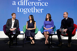 (left to right) Prince Harry, Meghan Markle and the Duchess and Duke of Cambridge during the first Royal Foundation Forum in central London.