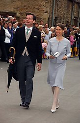 LADY SARAH CHATTO daughter of the late Princess Margaret and her husband MR DANIEL CHATTO at the wedding of Laura Parker Bowles to Harry Lopes held at Lacock, Wiltshire on 6th May 2006.<br /><br />NON EXCLUSIVE - WORLD RIGHTS