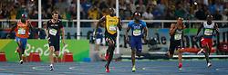 18-08-2016 BRA: Olympic Games day 13, Rio de Janeiro<br /> Churandy Martina wordt vijfde en komt  1 honderdste tekort voor brons . vlnr Churandy Martina  ,  Christophe Lemaitre ,  Usain Bolt , Lashawn Merritt ,  Andre de Grasse en Alonso Edward