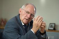 23 FEB 2016, BERLIN/GERMANY:<br /> Wolfgang Schaeuble, CDU, Bundesfinanzminister, waehrend einem Interview, in seinem Buero, Bundesministerium der Finanzen<br /> IMAGE: 20160223-01-014<br /> KEYWORDS: Wolfgang Schäuble