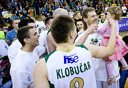 Miha Zupan of Olimpija with his daughter celebrate at third finals basketball match of Slovenian Men UPC League between KK Union Olimpija and KK Helios Domzale, on June 2, 2009, in Arena Tivoli, Ljubljana, Slovenia. Union Olimpija won 69:58 and became Slovenian National Champion for the season 2008/2009. (Photo by Vid Ponikvar / Sportida)
