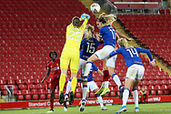 Everton women goalkeeper Tinja-Riikka Korpela (23) punches clear in added time during the FA Women's Super League match between Liverpool Women and Everton Women at Anfield, Liverpool, England on 17 November 2019.