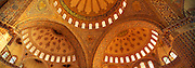TURKEY, ISTANBUL, OTTOMAN Blue Mosque; interior view of the domes