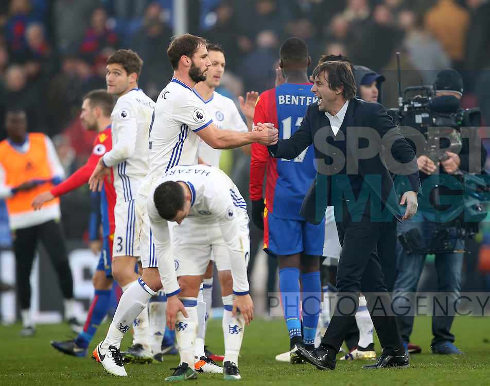 Chelsea's Antonio Conte celebrates at the final whistle during the Premier League match at Selhurst Park Stadium, London. Picture date December 17th, 2016 Pic David Klein/Sportimage