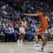 UNCASVILLE, CONNECTICUT- DECEMBER 4: Crystal Dangerfield #5 of the Connecticut Huskies shoots for three during the UConn Huskies Vs Texas Longhorns, NCAA Women's Basketball game in the Jimmy V Classic on December 4th, 2016 at the Mohegan Sun Arena, Uncasville, Connecticut. (Photo by Tim Clayton/Corbis via Getty Images)