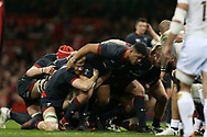 Leon Brown of Wales © in action during a scrum. Under Armour 2017 series Autumn international rugby, Wales v Georgia at the Principality Stadium in Cardiff , South Wales on Saturday 18th November 2017. pic by Andrew Orchard, Andrew Orchard sports photography