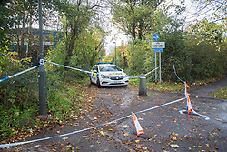 © Licensed to London News Pictures. 28/10/2020. London, UK. Police guard a crime scene in Three Bridges, Sussex; after a man has died after sustaining critical injures in an assault, on Tuesday evening. No arrests have been made. Photo credit: Marcin Nowak/LNP