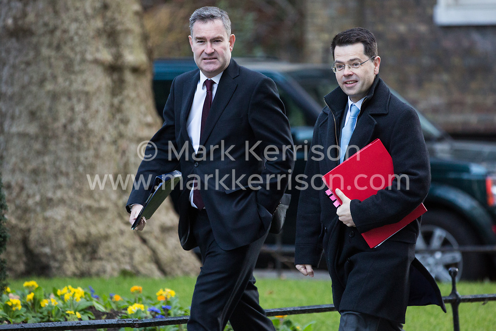 London, UK. 8th January, 2019. David Gauke MP, Lord Chancellor and Secretary of State for Justice, and James Brokenshire MP, Secretary of State for Housing, Communities and Local Government, arrive at 10 Downing Street for the first Cabinet meeting since the Christmas recess.