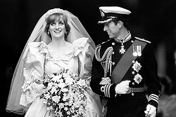 """Embargoed to 0001 Monday August 21 File photo dated 29/07/81 of the Prince and Princess of Wales on their wedding day. Diana, Princess of Wales was a woman whose warmth, compassion and empathy for those she met earned her the description the """"people's princess""""."""