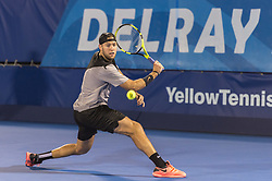 February 21, 2018 - Delray Beach, FL, United States - Delray Beach, FL - February 21: Jack Sock (USA) and  Rielly Opelka (USA) split sets during their first round match at the 2018 Delray Beach Open held at the Delray Beach Tennis Center in Delray Beach, Florida.   Credit: Andrew Patron/Zuma Wire (Credit Image: © Andrew Patron via ZUMA Wire)