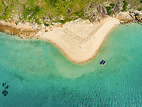 Aerial view of a boat anchored off of South Island, Lizard Island National Park, Great Barrier Reef, Queensland, Australia