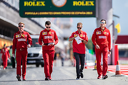 May 9, 2019 - Barcelona, BARCELONA, SPAIN - BARCELONA, SPAIN, 9 May 2019, Circuit de Barcelona Catalunya; Sebatian Vettel driver of Ferrari with Ferrari engineers at Circuit de Barcelona Catalunya (Credit Image: © AFP7 via ZUMA Wire)