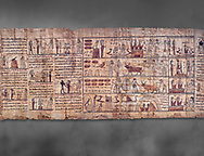 Ancient Egyptian Book of the Dead papyrus - Ptolemaic Period (722-30BC).Turin Egyptian Museum. Grey background .<br /> <br /> If you prefer to buy from our ALAMY PHOTO LIBRARY  Collection visit : https://www.alamy.com/portfolio/paul-williams-funkystock/ancient-egyptian-art-artefacts.html  . Type -   Turin   - into the LOWER SEARCH WITHIN GALLERY box. Refine search by adding background colour, subject etc<br /> <br /> Visit our ANCIENT WORLD PHOTO COLLECTIONS for more photos to download or buy as wall art prints https://funkystock.photoshelter.com/gallery-collection/Ancient-World-Art-Antiquities-Historic-Sites-Pictures-Images-of/C00006u26yqSkDOM