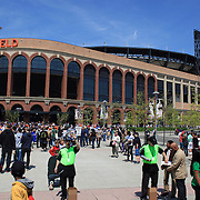Fans arrive at Citi Field for the New York Mets V San Francisco Giants Baseball game at Citi Field, Queens, New York. 21st April 2012. Photo Tim Clayton