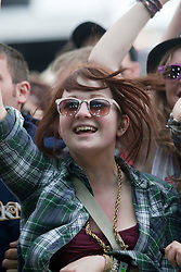 Fans of We Are Scientists on the main stage..Rockness, Sunday, 12th June 2011..RockNess 2011, the annual music festival which takes place in Scotland at Clune Farm, Dores, on the banks of Loch Ness near Inverness..Pic ©2011 Michael Schofield. All Rights Reserved..