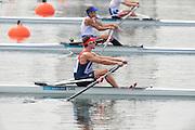 Eton Dorney, Windsor, Great Britain,..2012 London Olympic Regatta, Dorney Lake. Eton Rowing Centre, Berkshire[ Rowing]...Description;  [Spare Race],  GBR LM1X Adam FREEMAN-PASK, at the start,  Dorney Lake. 15:10:03  Friday  27/07/2012. [Mandatory Credit: Peter Spurrier/Intersport Images]. July/Aug