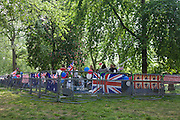 24 hours before the royal marriage of Prince William and Kate Middleton, an encampment of Australian royalists are positioned by front row railings on the corner of the Mall and Horseguards. Taking place on Friday 30th April in front of millions of Britons and foreign tourists (many American), the crowds are already gathering to claim their ideal locations in the front rows along the procession route.