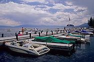 Recreation pleasure boats docked at Sunnyside, Lake Tahoe, California