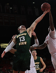 November 14, 2017 - Oxford, Ohio, U.S - Wright State Raiders guard Grant Benzinger (13) pulls down a rebound on Tue Nov 14, 2017. During  play at Miami (Oh) Redhawks  in Oxford,Ohio. (Credit Image: © Ernest Coleman via ZUMA Wire)