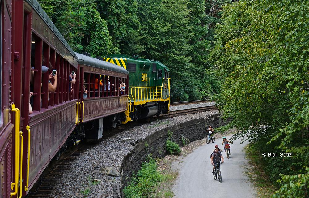 Historic train ride and biking trail, Lehigh River Park, Jim Thorpe, Carbon County, PA