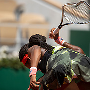 PARIS, FRANCE June 9.  Coco Gauff of the United States smashes her tennis racquet during her loss against Barbora Krejcikova of the Czech Republic on Court Philippe-Chatrier during the quarter finals of the singles competition at the 2021 French Open Tennis Tournament at Roland Garros on June 9th 2021 in Paris, France. (Photo by Tim Clayton/Corbis via Getty Images)
