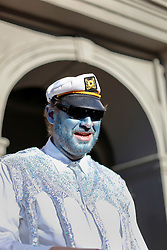 09 February 2016. New Orleans, Louisiana.<br /> Mardi Gras Day. Bud the sailor in Jackson Square in the French Quarter.<br /> Photo©; Charlie Varley/varleypix.com