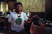 1989: Kelabit native, Jangin Taibilung, rainforest defender and activist living at Long Napir, Limbang district, Sarawak, Borneo<br /> <br /> Tropical rainforest and one of the world's richest, oldest eco-systems, flora and fauna, under threat from development, logging and deforestation. Home to indigenous Dayak native tribal peoples, farming by slash and burn cultivation, fishing and hunting wild boar. Home to the Penan, traditional nomadic hunter-gatherers, of whom only one thousand survive, eating roots, and hunting wild animals with blowpipes. Animists, Christians, they still practice traditional medicine from herbs and plants. Native people have mounted protests and blockades against logging concessions, many have been arrested and imprisoned.