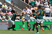 Twickenham, United Kingdom. 3rd June 2018, HSBC London Sevens Series. Game 38 Cup Semi Final. South Africa vs England. <br /> <br /> Englands, Mike ELLERY finds himself the centre of attention, as he run with the ball on the wing, during the Rugby 7's, match played at the  RFU Stadium, Twickenham, England, <br /> <br /> <br /> <br /> © Peter SPURRIER/Alamy Live News