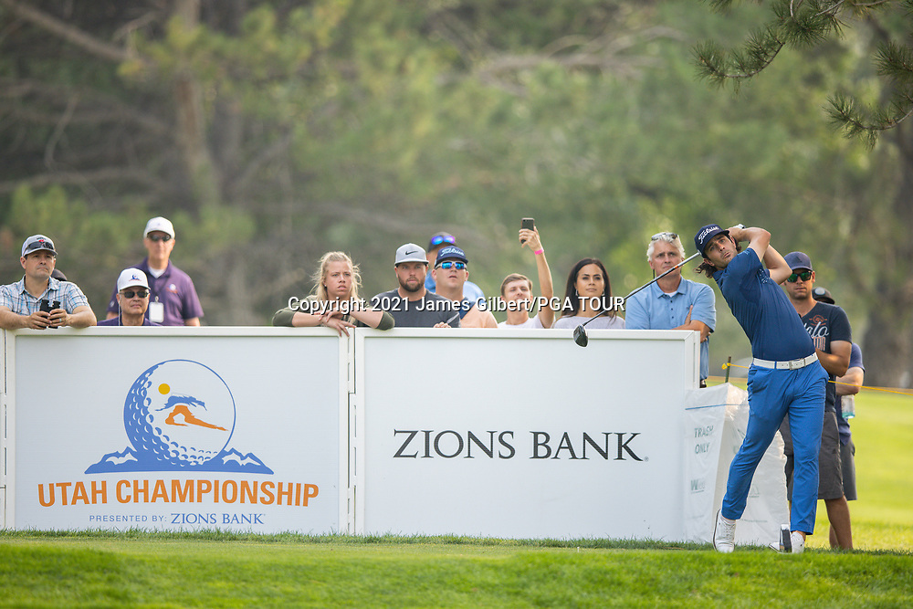 FARMINGTON, UT - AUGUST 08: Callum Tarren of England plays his shot from the 17th tee during the final round of the Utah Championship presented by Zions Bank at Oakridge Country Club on August 8, 2021 in Farmington, Utah. (Photo by James Gilbert/PGA TOUR via Getty Images)