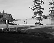 0001-611105 Cape Arago, Oregon. Sunset Bay State Park picnic area, on the Cape Arago Highway, Coos County, Oregon. November 5, 1961.