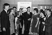 20/5/1965<br /> 5/20/1965<br /> 20 May 1965<br /> <br /> A Dance in the Intercontinental Hotel Concluding the three day convention and 21st Anniversary Celebration of Macra na Feirme <br /> <br /> Picture shows: Mr. Jimmy Sweeny President Skibereen Club, Mary Cashman Knockrana Co Cork Hon Sec. Cork County Executive. Miss Angela Manning; Mr. Timothy Dorgan Qatergrass hill Co. Cork; Mr. Denis Buttimer Watergrasshill Co Cork Vice Chairman Cork County Executive; Mr. James Fitzgerald Knockraha Chairman Cork County Executive; Miss Delia O'Connell Glanmorie Assistant Sec; Mr. Denis Nynhan ; Miss Mary Manning; Mr. Patrick O'Donovan and Mr Michael Horgan