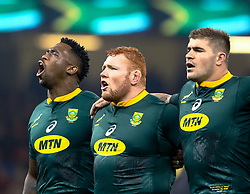 Siya Kolisi of South Africa sings the anthem<br /> <br /> Photographer Simon King/Replay Images<br /> <br /> Under Armour Series - Wales v South Africa - Saturday 24th November 2018 - Principality Stadium - Cardiff<br /> <br /> World Copyright © Replay Images . All rights reserved. info@replayimages.co.uk - http://replayimages.co.uk