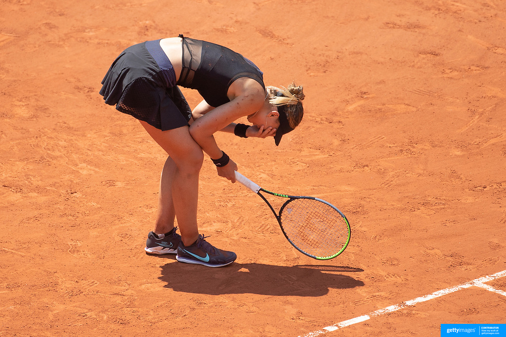 PARIS, FRANCE June 8.  Paula Badosa of Spain reacts after failing to convert two break points late in the this set against Tamara Zidansek of Slovenia on Court Philippe-Chatrier during the quarter finals of the singles competition at the 2021 French Open Tennis Tournament at Roland Garros on June 8th 2021 in Paris, France. (Photo by Tim Clayton/Corbis via Getty Images)
