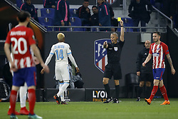 (L-R) Clinton Njie of Olympique Marseille, referee Bjorn Kuipers during the UEFA Europa League final match between Olympique Marseille and Atletico de Madrid at Stade de Lyon, on May 16, 2018 in Lyon, France