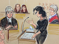 Nigella questioned by barrister for Fran..Karina Arden. Sisters Lisa on left Fran on Right