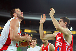 Milko Bjelica of Montenegro and Damjan Rudez of Croatia at friendly match between Croatia and Montenegro for Adecco Cup 2011 as part of exhibition games before European Championship Lithuania on August 6, 2011, in SRC Stozice, Ljubljana, Slovenia. (Photo by Urban Urbanc / Sportida)