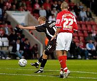 Photo: Ed Godden.<br /> Cheltenham Town v Bristol City. Carling Cup. 22/08/2006.<br /> David Cotterill (L) scores for Bristol. To make it 2-1 to Cheltenham.