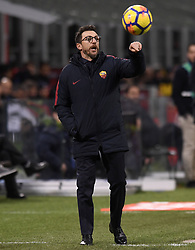 MILAN, Jan. 22, 2018  Roma's head coach Eusebio Di Francesco gestures during a Serie A soccer match between Inter Milan and Roma in Milan, Italy, Jan. 21, 2018. The game ends with a 1-1 tie. (Credit Image: © Alberto Lingria/Xinhua via ZUMA Wire)