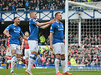 Football - 2018 / 2019 Premier League - Everton vs. Arsenal<br /> <br /> Phil Jagielka of Everton celebrate after he scores his side's first goal, at Goodison Park.<br /> <br /> COLORSPORT/ALAN MARTIN
