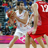 10 August 2012: Spain Jose Calderon looks to pass the ball during 67-59 Team Spain victory over Team Russia, during the men's basketball semi-finals, at the North Greenwich Arena, in London, Great Britain.