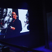 """Stills from the film of Harold Pinter reading from his book """"War"""". The reading took place in 2004 and was filmed by Jenny Matthews. TEN, a benefit event for Stop the War at the Royal Court, London."""