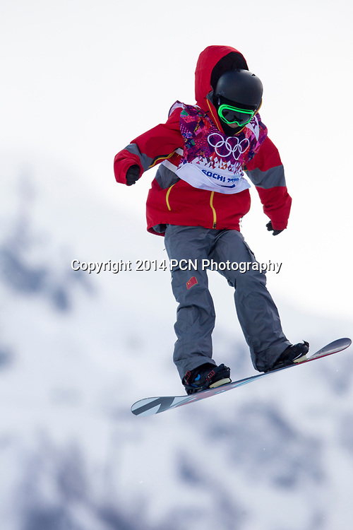 Yiwei Zhang (CHN) competing in Men's Snowboard Halfpipe at the Olympic Winter Games, Sochi 2014
